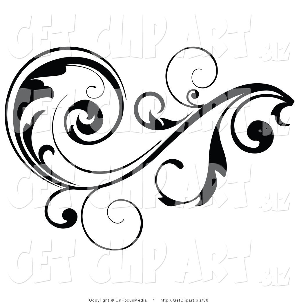 Vines and scrolls clipart svg royalty free Clip Art of a Black Leafy Vine Design Accent with Scrolling ... svg royalty free