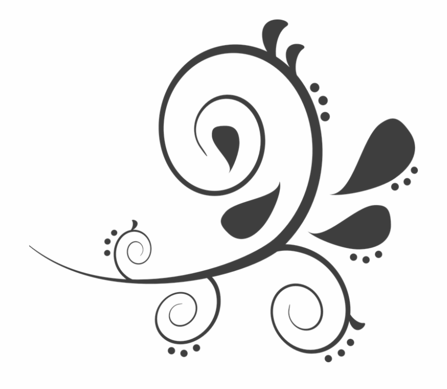 Decorative elegant vines and swirls with leaves clipart vector Paisley Dark Black Curves Floral Decoration Vines - Black ... vector
