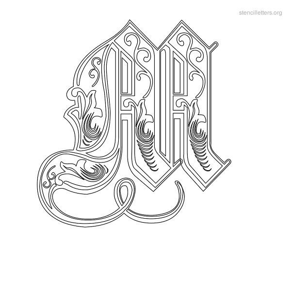 Decorative letter a decorative letter m free clipart svg freeuse stock Stencil Letter Decorative M | wedding | Letter stencils, Stencils ... svg freeuse stock