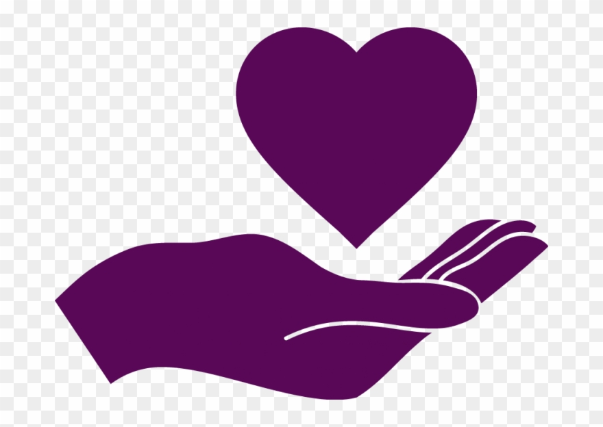 Deep purple clipart vector freeuse stock Deep Purple Icon Of Hand With Heart Above It - Hand Holding Heart ... vector freeuse stock
