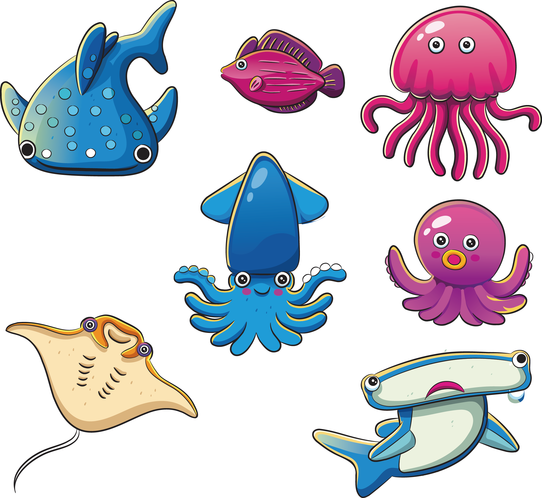 Benthic zone world ocean. Fish kiss clipart