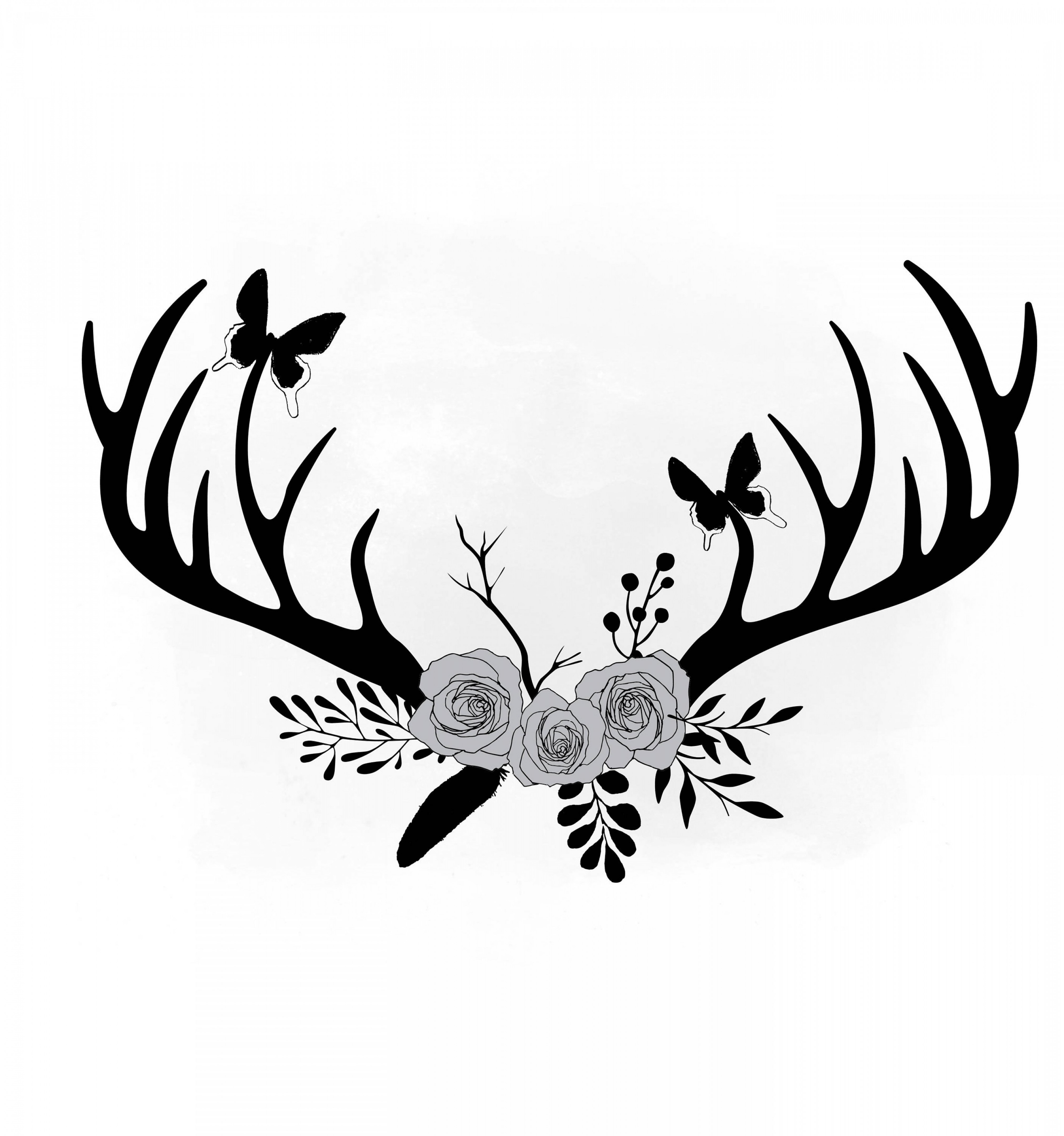 Deer antler with flowers clipart image library stock Floral Antlers Svg Clipart Antler Flower | SOIDERGI image library stock