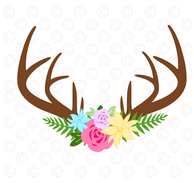 Deer antler with flowers clipart graphic royalty free download Floral rose deer antler svg cut files. Free svg files. | Svg Files ... graphic royalty free download