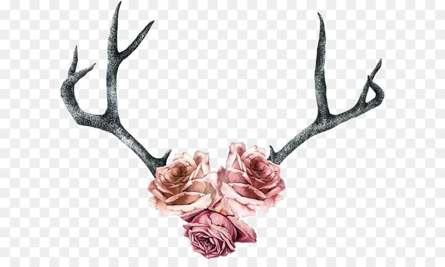 Deer antler with flowers clipart banner royalty free download Flower Drawing clipart - Deer, Flower, Tattoo, transparent clip art banner royalty free download