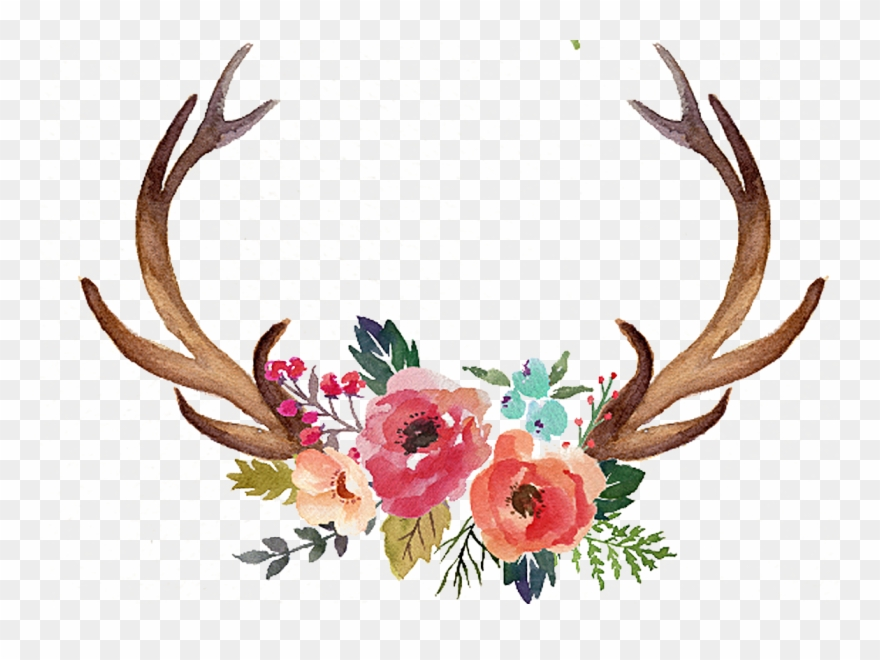 Deer antler with flowers clipart svg Freeuse Stock Deer Antler Moose Clip - Antlers With Flowers Clipart ... svg