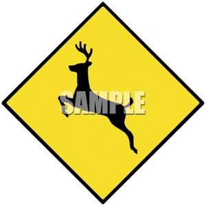 Deer crossing sign clipart vector free stock Deer Crossing Road Sign - Royalty Free Clipart Picture vector free stock