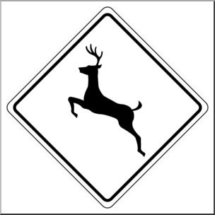 Deer crossing sign clipart clip art transparent Clip Art: Signs: Deer Crossing 1 B&W I abcteach.com | abcteach clip art transparent