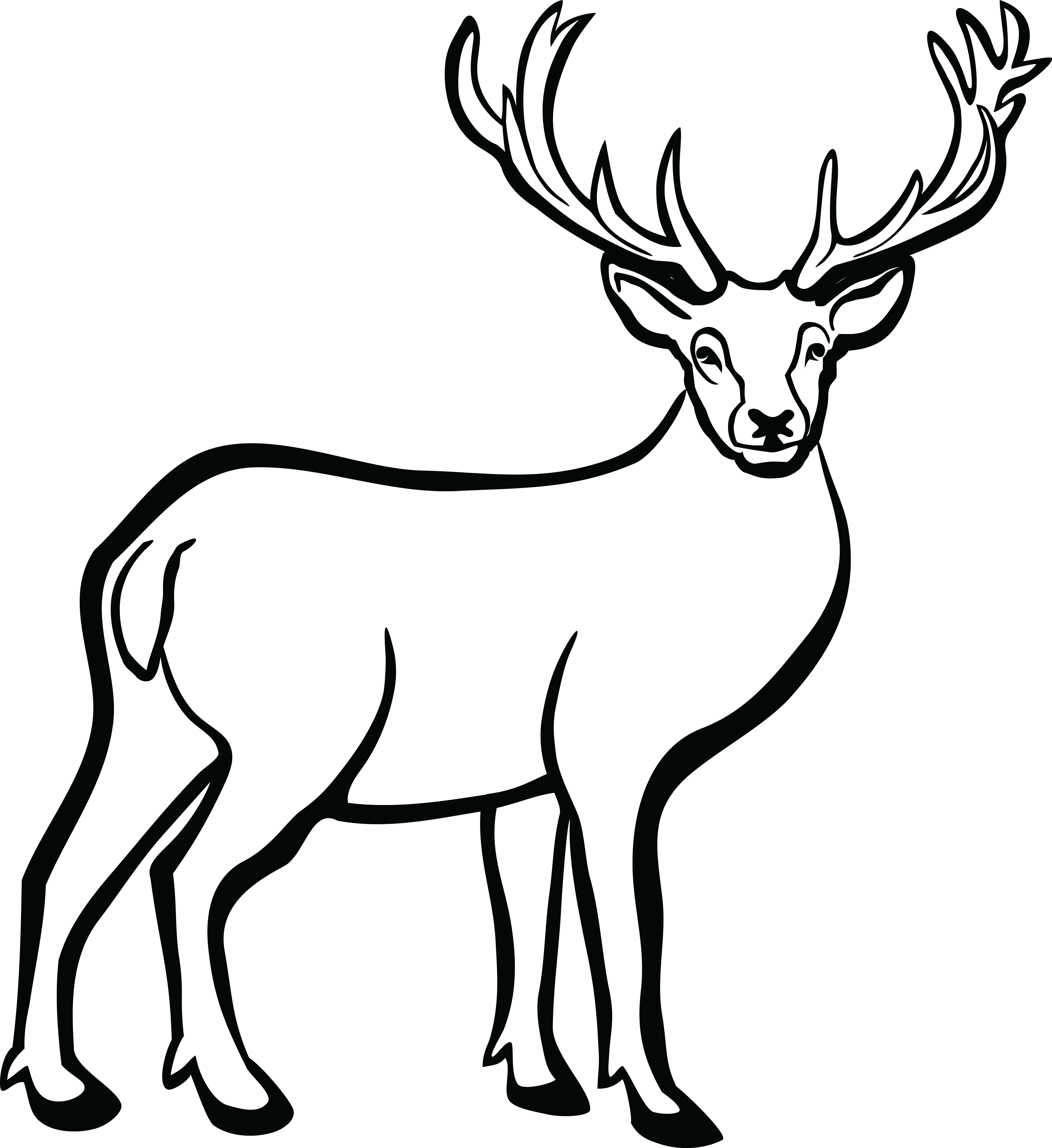 Deer heart clipart png stock Deer Black And White | Free download best Deer Black And White on ... png stock