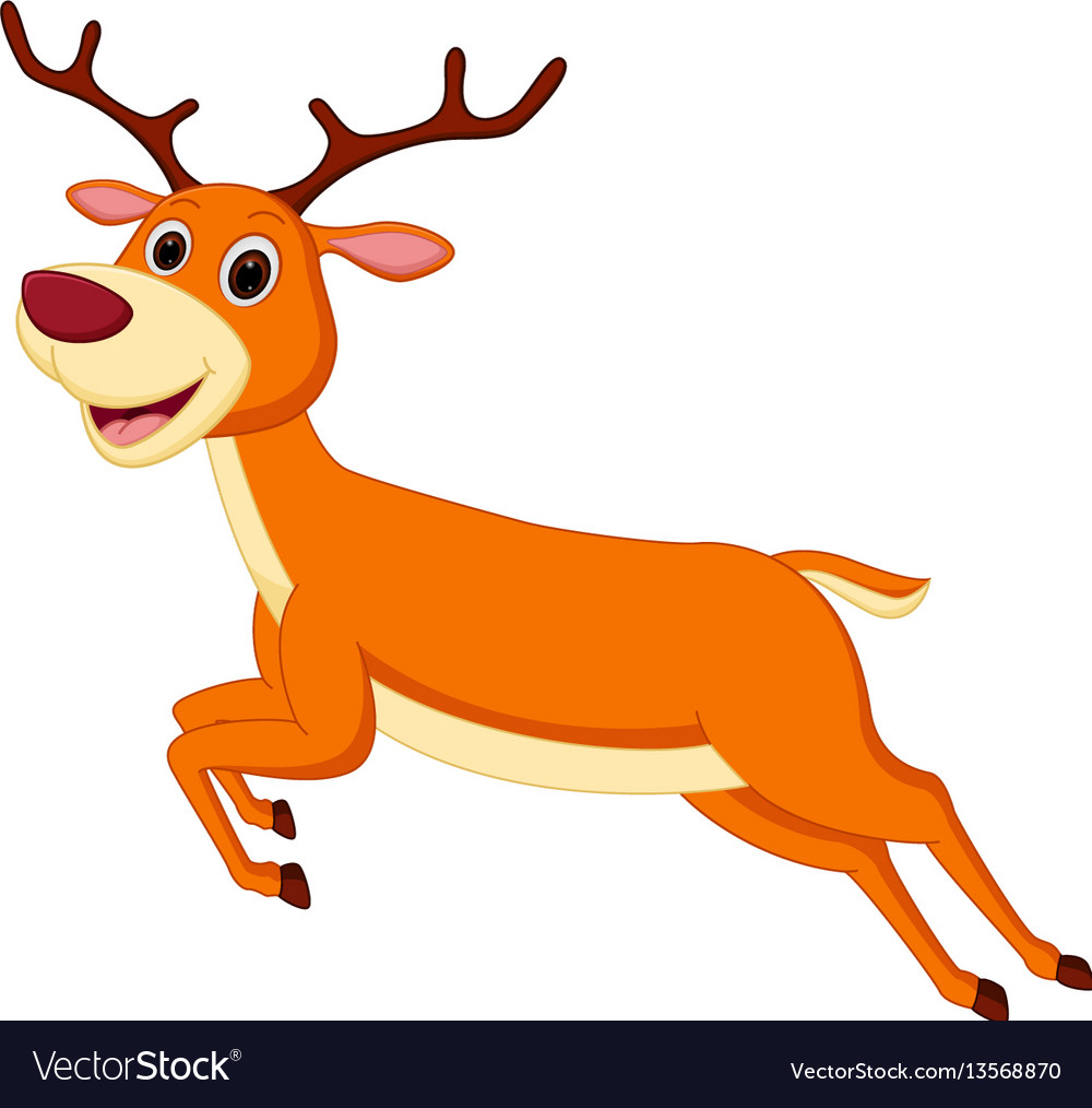 Deer running clipart clipart royalty free stock Happy deer cartoon running clipart royalty free stock