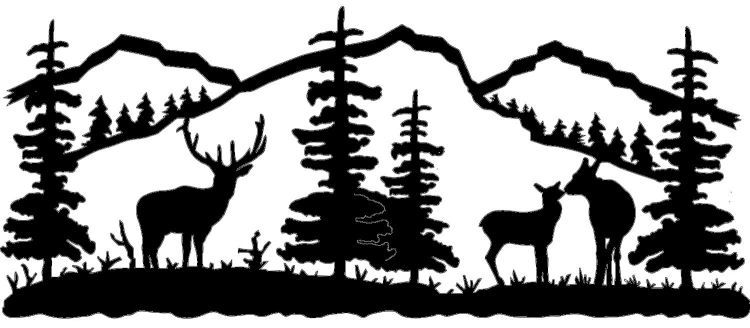 wildlife clip art silhouettes | Mountain Scene Deer Family Metal ... jpg black and white download