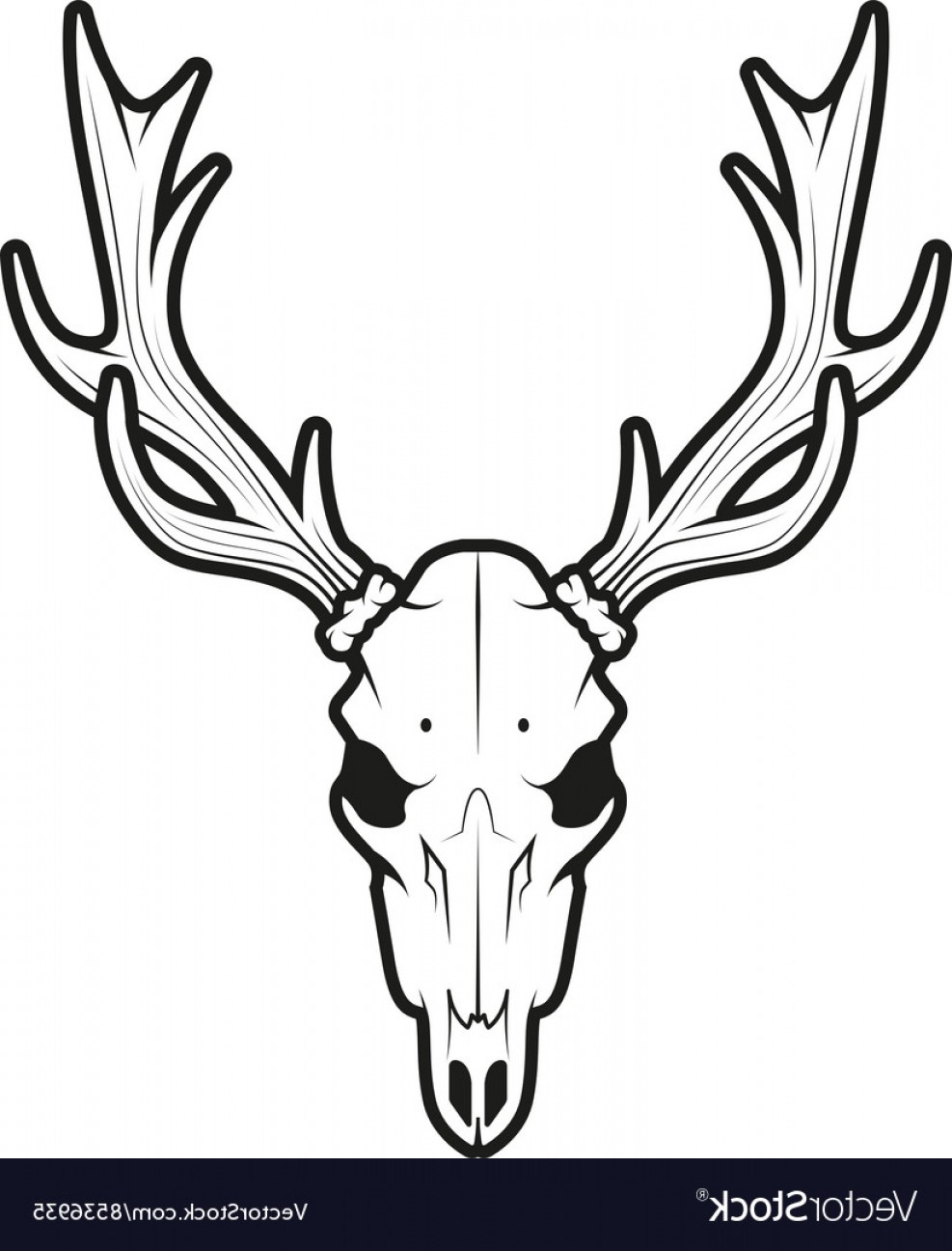 Deer skull clipart black and white vector image free Elk Skull Vector   SarahGardan image free