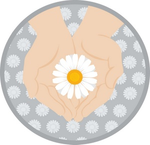 Delicate clipart banner transparent library Delicate Clipart Image - Woman Holding a Flower in Her Hands banner transparent library