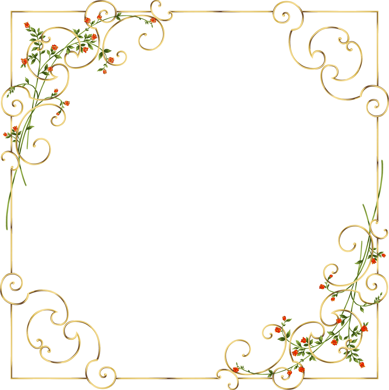 Delicate flower clipart clip black and white Gold Frame with Delicate Wild Flowers   Gallery Yopriceville - High ... clip black and white