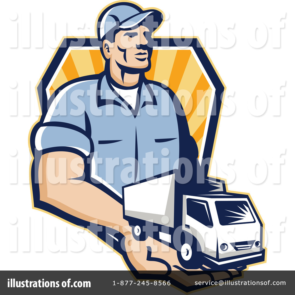 Delivery person clipart vector black and white download Delivery Man Clipart #1222651 - Illustration by patrimonio vector black and white download
