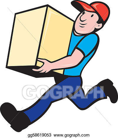 Delivery person clipart svg free Clipart - Delivery person worker running delivering box. Stock ... svg free