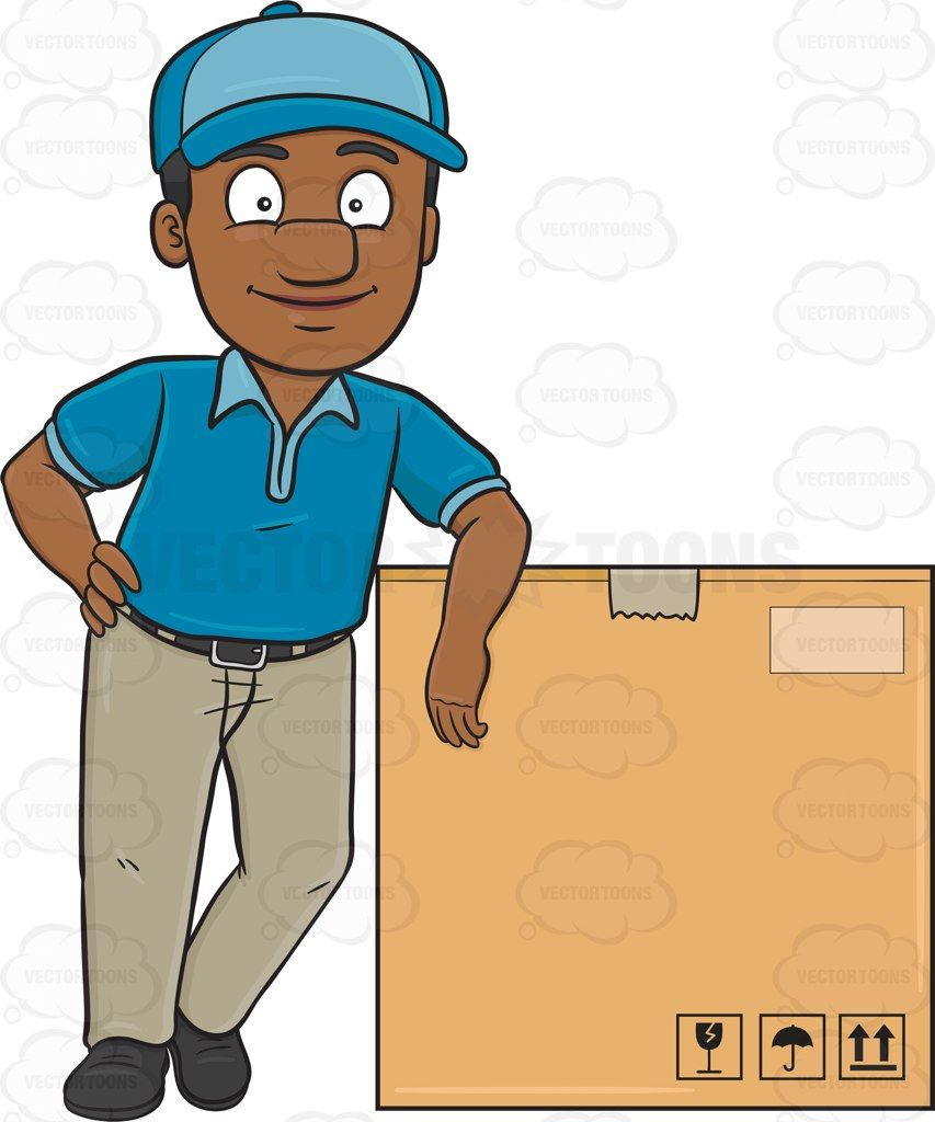 Delivery person clipart download A black delivery man poses beside a jumbo box | Vector Illustrations ... download