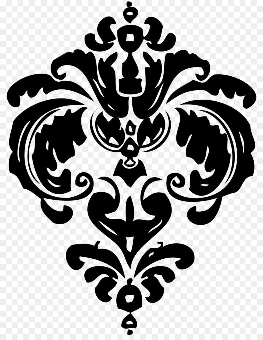 Free damask clipart. Black and white flower