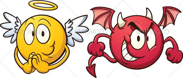 Demon angel clipart jpg Angel and devil emoticons. Vector clip art illustration with simple ... jpg
