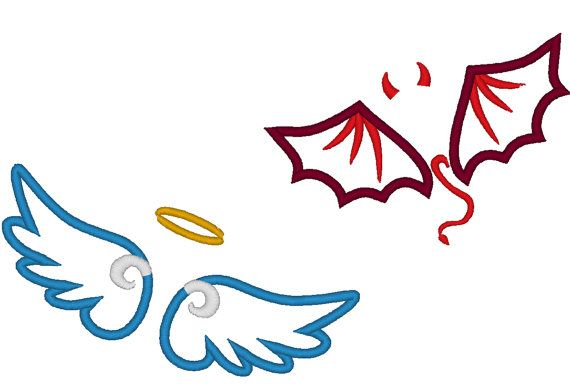 Demon angel clipart vector black and white stock Little Angel and little devil wings applique and fill by artapli ... vector black and white stock