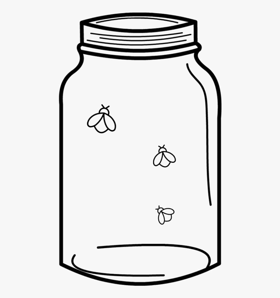 Dentro de la casa clipart black and white vector transparent Free Cut File Download Mason Jar & Fireflies, Free - Line ... vector transparent