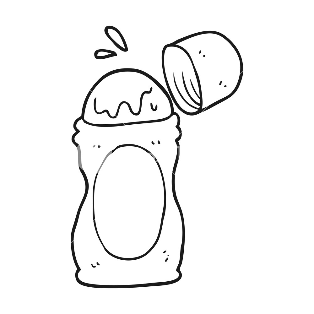 Deodorant clipart black and white clipart freeuse freehand drawn black and white cartoon roll on deodorant ... clipart freeuse