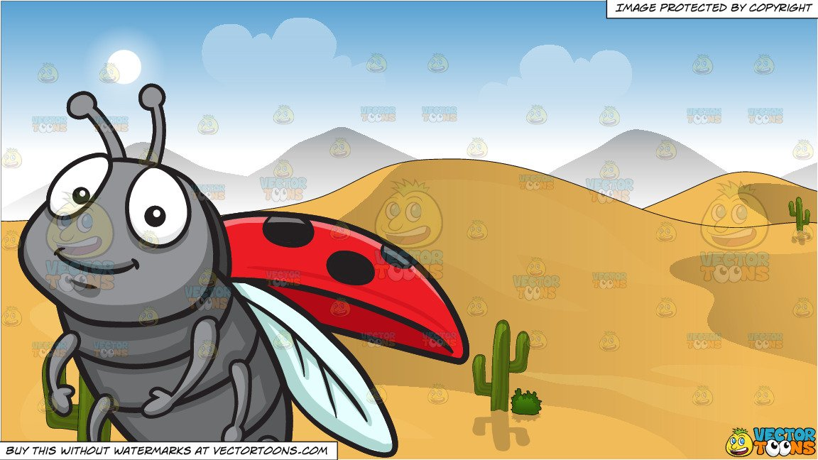 Desert background clipart banner royalty free An Adorable Ladybug and Sand Dunes In The Desert Background banner royalty free