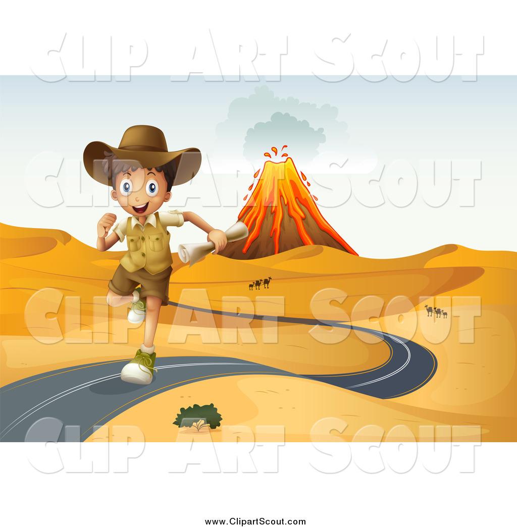 Desert road clipart picture transparent stock Clipart of an Explorer Boy Running on a Desert Road, with a Volcano ... picture transparent stock