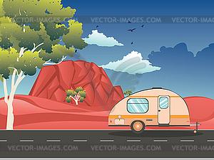 Desert road clipart clip black and white download Camping trailer on desert road - vector clipart clip black and white download