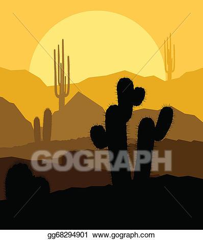 Desert sunset clipart clip art library stock Vector Stock - Cactus plants in desert sunset vector ... clip art library stock