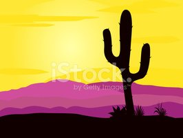 Desert sunset clipart banner library stock Mexico Desert Sunset With Cactus Plants Silhouette and ... banner library stock