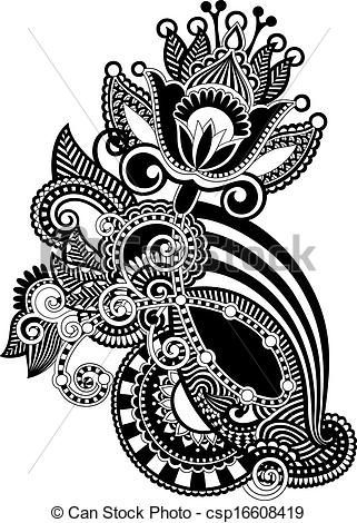 Design artwork free image free library Vector Clip Art of Hand draw line art ornate flower design ... image free library