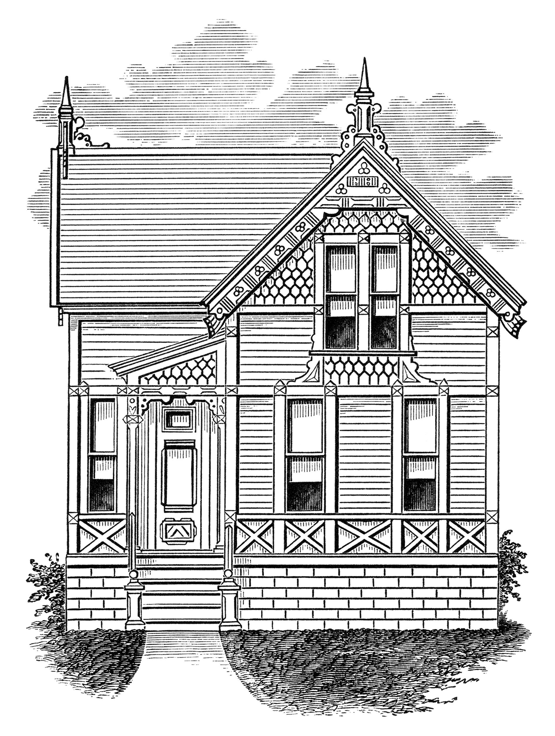 Sun above house clipart black and white transparent download small+old+house+Victorian | ... vintage home clipart, antique house ... transparent download
