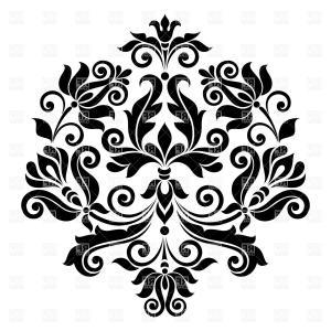 Designer vector clipart jpg black and white library Black Vintage Floral Design Element Vector Clipart | HandandBeak jpg black and white library