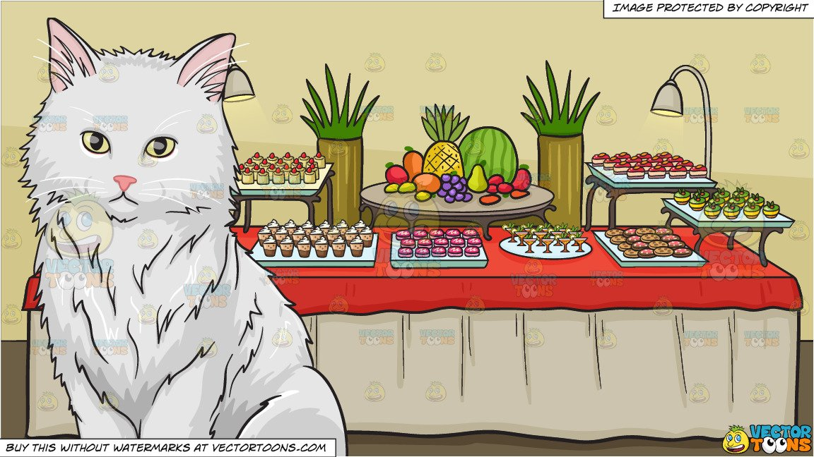 Desserts clipart black and white free buffet svg royalty free stock A big fluffy white cat and A Dessert Buffet Table Background svg royalty free stock