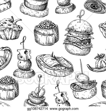 Desserts clipart black and white free buffet svg freeuse Vector Art - Finger food vector seamless pattern. food appetizer and ... svg freeuse