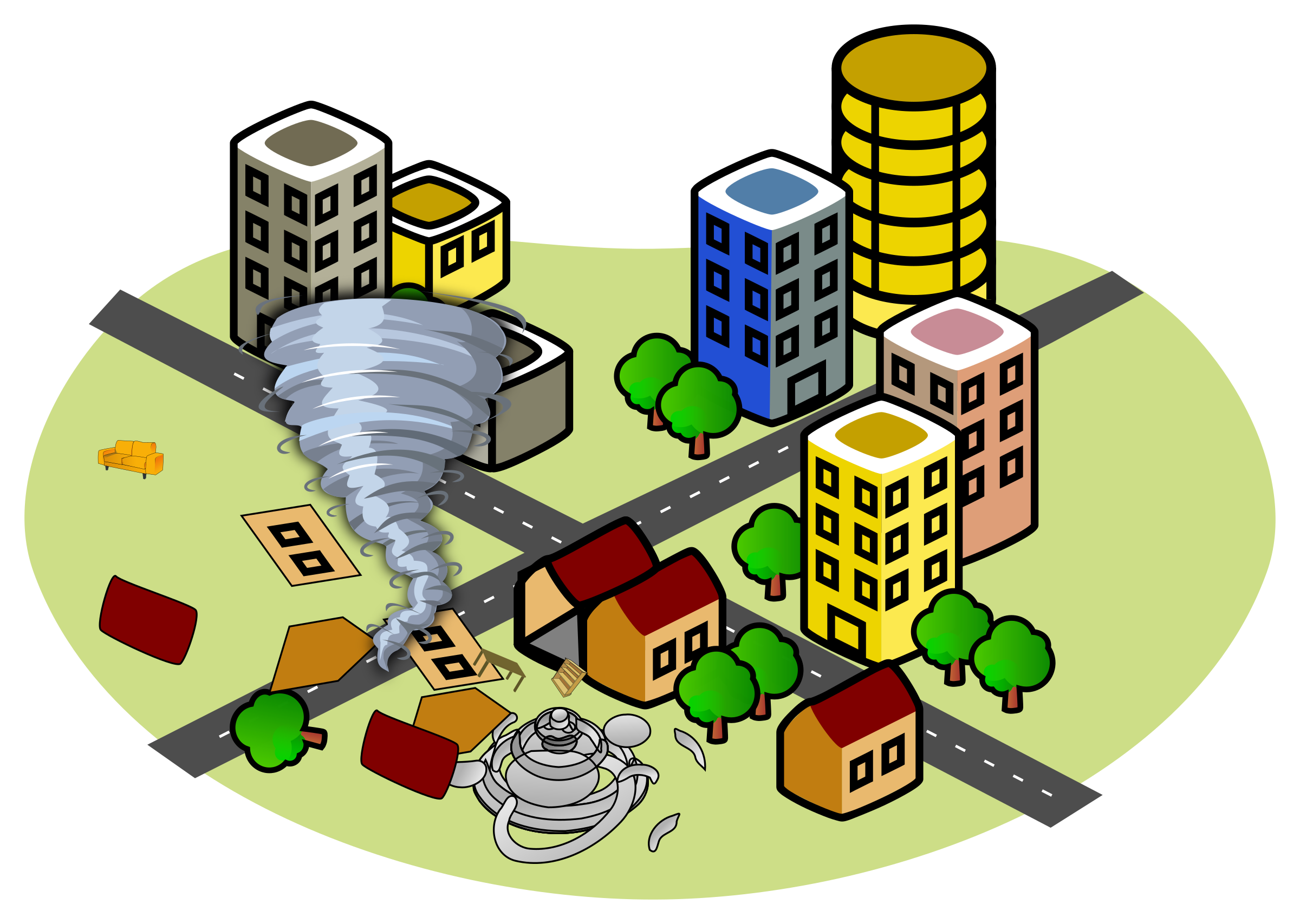 House in tornado clipart banner Clipart - City with a tornado banner