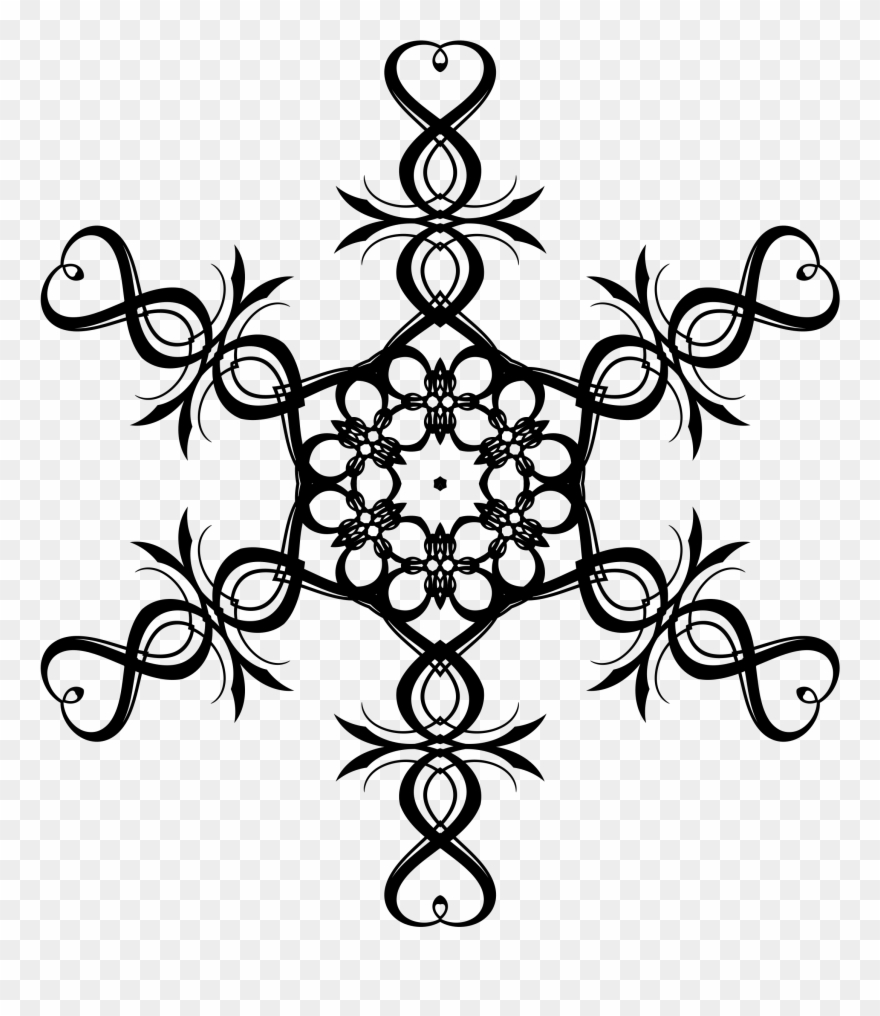 Detail snowflakes text clipart black and white svg library stock Detailed Snowflake Clipart - Transparent Background Heart Snowflake ... svg library stock