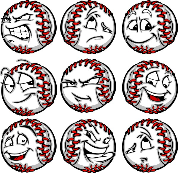 Determined face clipart svg royalty free Happy Baseball - Vector Clipart Baseballs with Crazy Faces svg royalty free