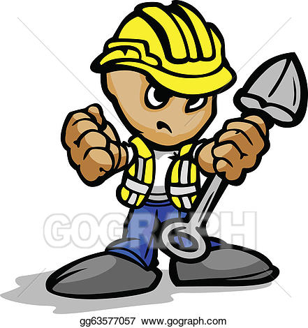 Determined face clipart jpg black and white stock Vector Clipart - Construction worker with determined face and shovel ... jpg black and white stock