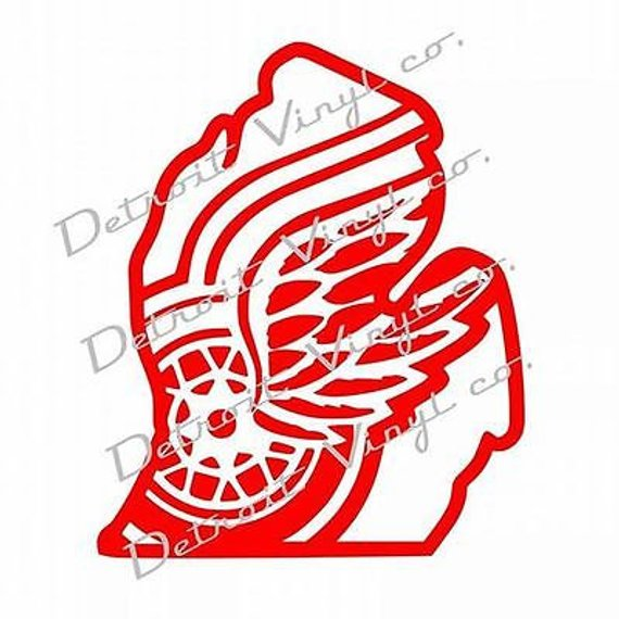 Detroit red wings clipart vector library library Detroit Red Wings logo inside michigan outline Sticker Decal ... vector library library