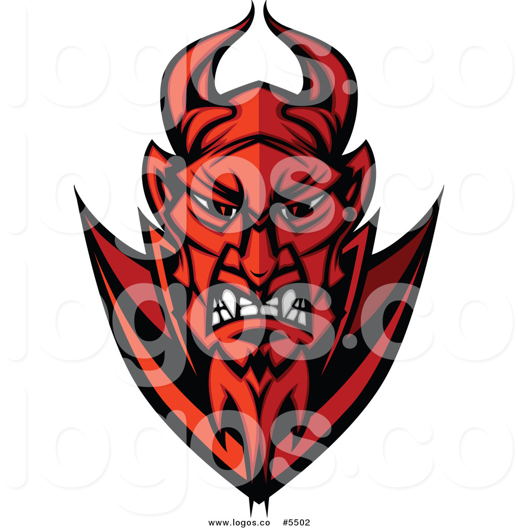 Devil face clipart vector black and white library Royalty Free Vector of a Logo of a Red Angry Devil Face by Chromaco ... vector black and white library