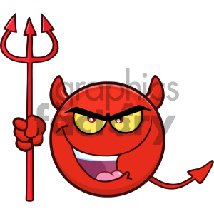 Devil face clipart black and white stock Royalty Free RF Clipart Illustration Red Devil Cartoon Smiley Face  Character With Evil Expressions Holding A Trident Vector Illustration  Isolated On ... black and white stock