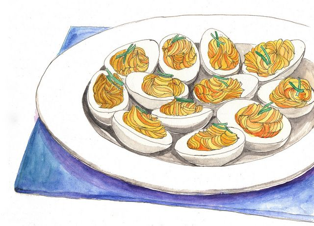 Deviled eggs clipart jpg freeuse library deviled eggs | cookbook. | Watercolor food, Food drawing, Food painting jpg freeuse library