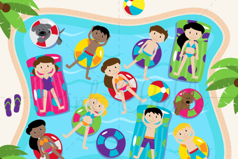 Devon clipart clip art royalty free library Pool Party Clipart And Vectors By Devon Carlson TheHungryJPEG Com ... clip art royalty free library