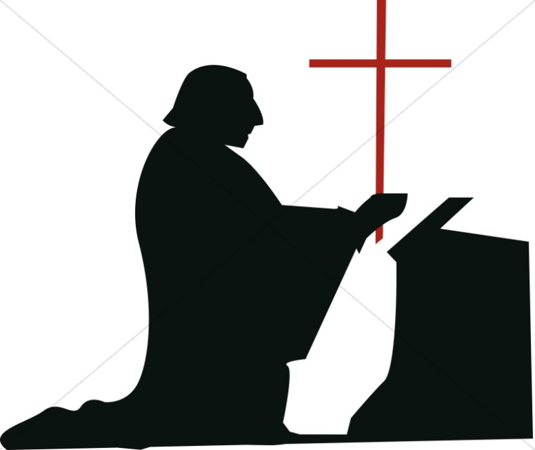 Devotion clipart clip art black and white library Kneeling Man in Devotion | Clergy Clipart clip art black and white library