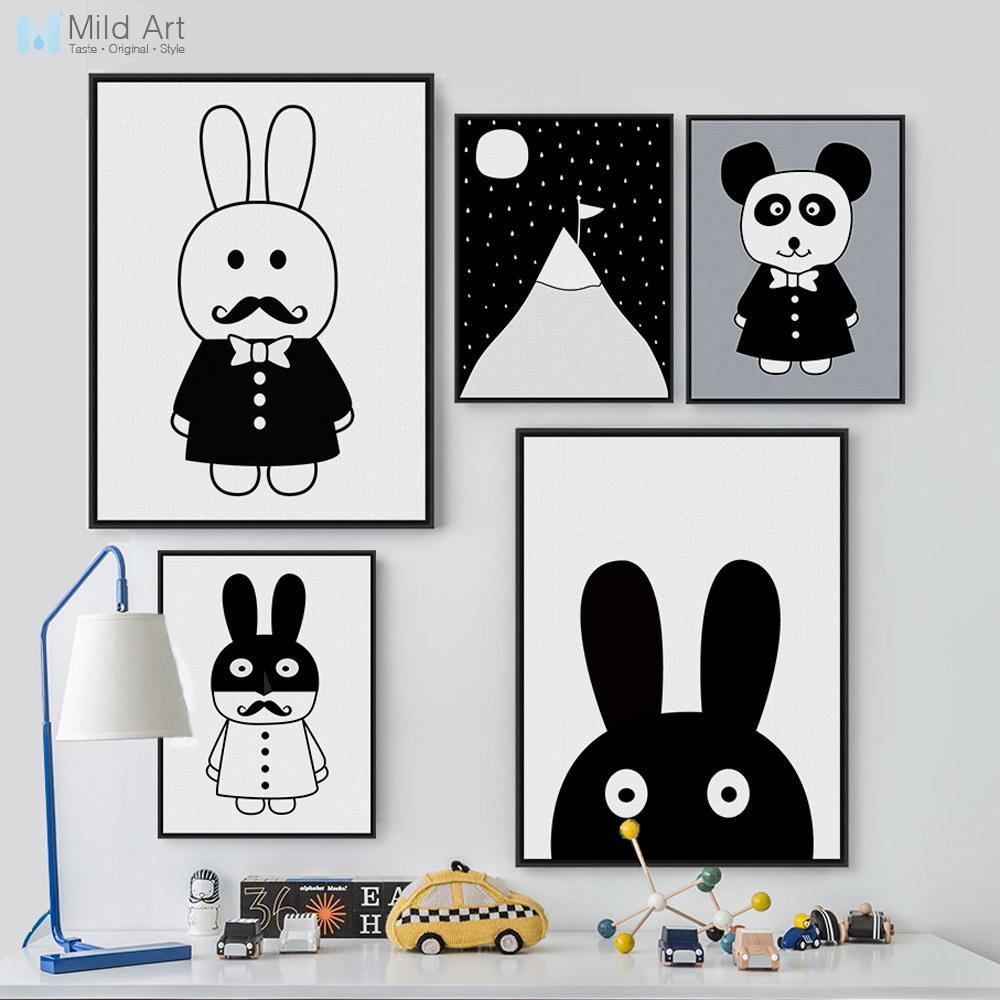 Dia de campo clipart negro y blanco picture freeuse download Compre Ig Lienzo De Pintura Blanco Y Negro Animal Conejo Panda ... picture freeuse download