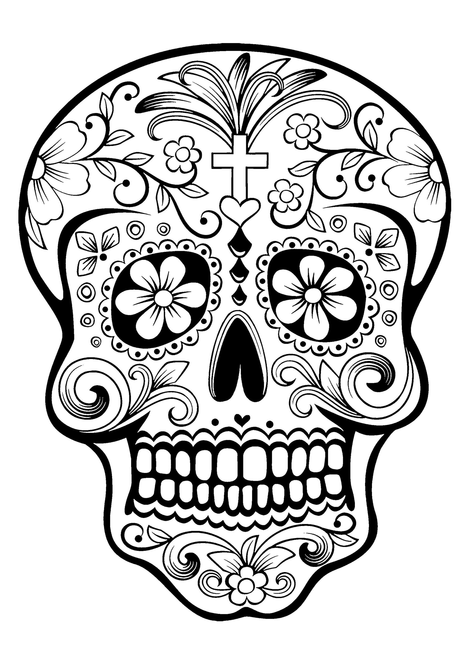 Dia de los muertos clipart black and grey image free stock El Día de los Muertos / Day of the dead coloring page : Skull - 1 ... image free stock