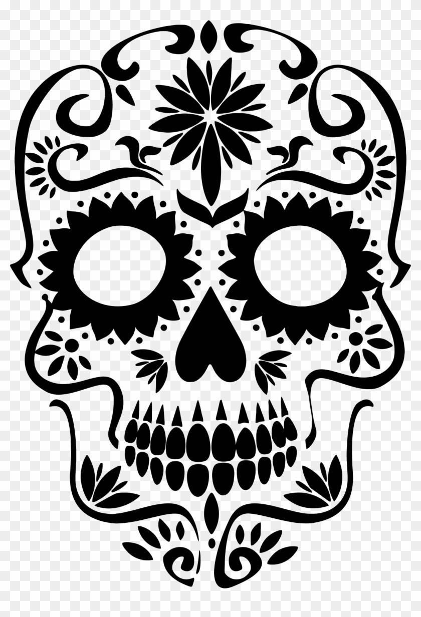 Dia de los muertos clipart black and grey black and white download Clipart Transparent Download Mexican Skull Clipart - Sugar Skull ... black and white download