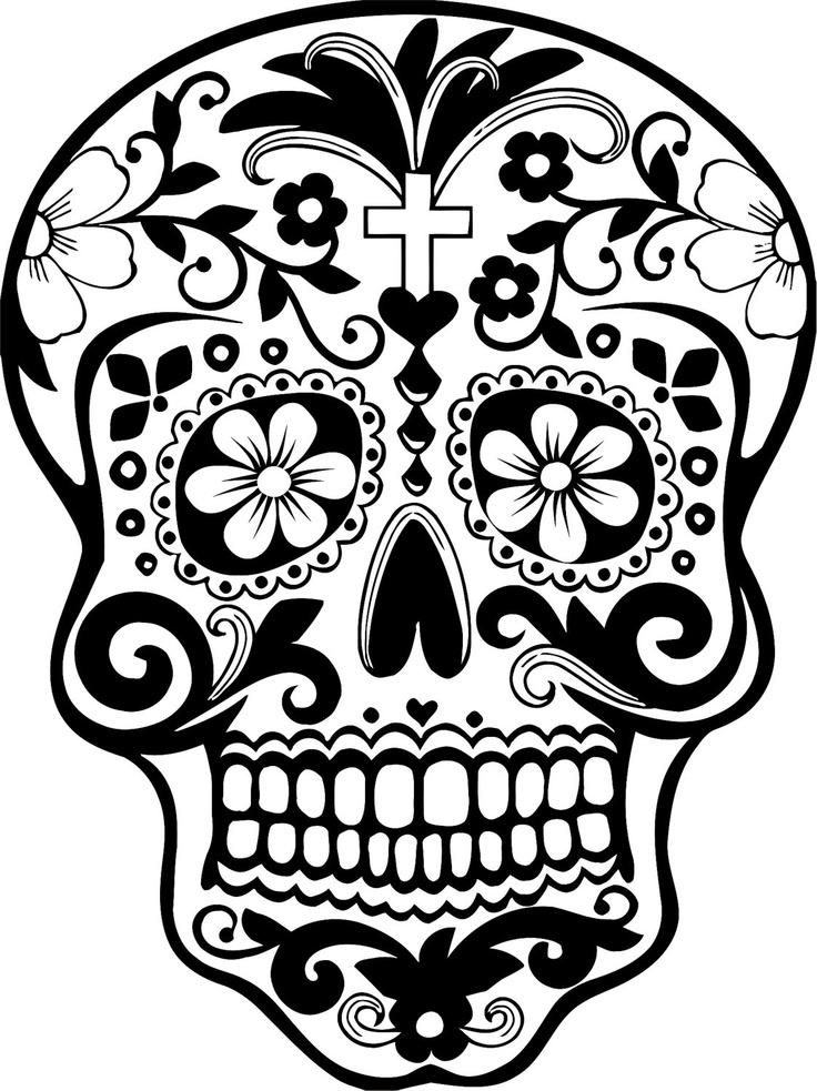 Dia de los muertos clipart black and grey graphic freeuse Free Mexican Skull Cliparts, Download Free Clip Art, Free Clip Art ... graphic freeuse