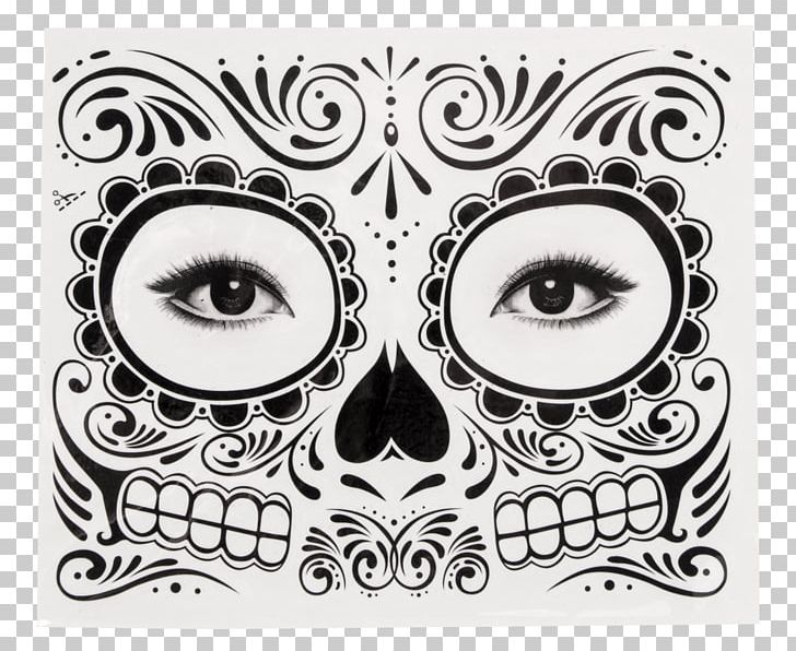 Dia de los muertos clipart black and grey vector freeuse Abziehtattoo Day Of The Dead Calavera Face PNG, Clipart ... vector freeuse